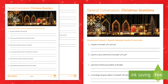 General Conversation Christmas Question List Writing Activity Spanish - develop, ideas, speaking, describing, practice