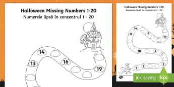 Halloween Spooky House Missing Numbers to 20 Activity Sheet English/Romanian - Halloween, october, festival, celebration, spooky, ghosts, witch, , worksheet, activity sheet, EAL