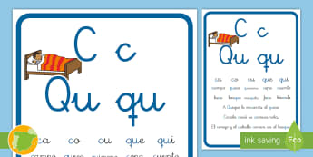 Cartilla de lectura: La letra C y la Qu - lecto, leer, lectura, lecto-escritura, didáctico, consonantes, fonema, sonido Spanish