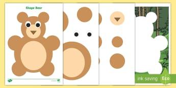 Shape Bear Activity Sheets - 2D Shapes, Circles, Maths, Mathematics, Numeracy, Shape Pictures, worksheets