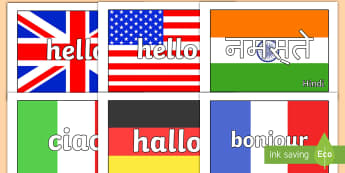 Hello in Multiple Languages Flag Display Posters - flags, hello, display, languages, posters, greetings, bulletin board, classroom set up