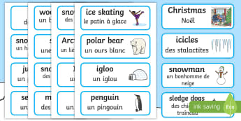 Winter Word Cards English/French - Winter, winter words, Word card, flashcard, snowflake, snow, winter, frost, cold, ice, hat, gloves,