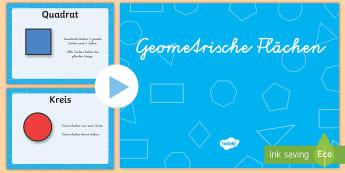 Geometrische Flächen Eigenschaften PowerPoint Spiel - Geometrie, Flächen, 2D, Ebene Figuren, Eignenschaften, Spiel,German