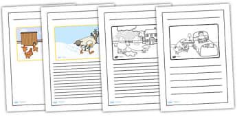 Farmer Duck Story Writing Frames - farmer duck, writing frames, lined, frames for writing, themed writing frames, writing template, colour and write, story