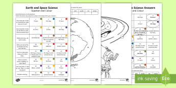 Year 3 Earth and Space Science Questions and Colouring Activity Sheet - ACSSU048, Earth rotation, day, night, australian science, timescales,Australia