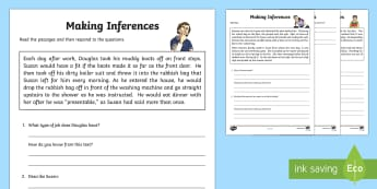 Inference Activity Sheet - CfE Literacy, reading comprehension strategies, inference activity,worksheet ,Scottish