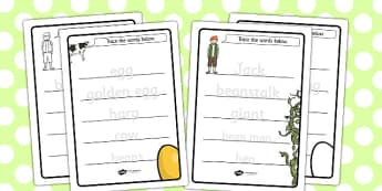 Jack and the Beanstalk Trace the Words Worksheet - trace, words