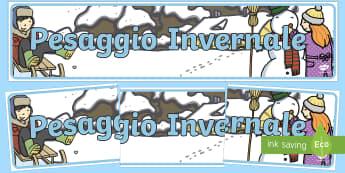 Paesaggio Invernale Striscione - Striscione, colorato, invernale, poster, A4, invernale, paesaggio,immagine, italiano, italian