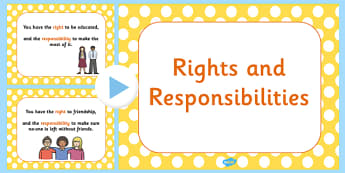 Rights and Responsibilities PowerPoint - rights, your right, you have a right to, right and responsibilities, responsibilities powerpoint, peoples rights