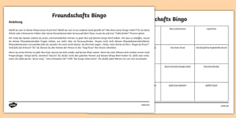 Back To School New Class Friendship Bingo Activity German-English