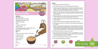 Fairy Cake Recipe Sheet - fairy cake, recipe cards, recipe, card