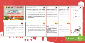 Year 4 Christmas Mental Maths Challenge Cards English/Hindi - mathematics, solve, solutions, problems, division, multiplication, EAL