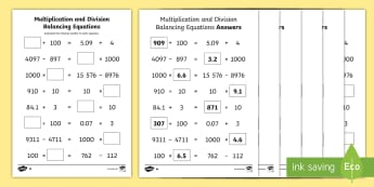 UKS2 Multiplication and Division Balancing Problems Differentiated Activity Sheets - Balancing equations, balancing sums, puzzles, reasoning, algebra, missing number problems
