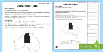 Australian States and Territories – Uluru Special Features Proposal Activity Sheet - Year 3, ACHASSK066, geography, Australian curriculum, conservation, Northern Territory, lesson, rese