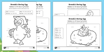 Brenda's Boring Egg Addition Colour-by Number Activity Pack - twinkl originals, fiction, story, easter, ugly duckling, adding,