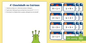 Cairtean Cur-ris gu 10 - cfe, first level, maths, gaelic, addition to 10, cuir-ris gu 10, cairtean, cards,Scottish