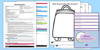 Packing For The Moon EYFS Adult Input Plan and Resource Pack - Whatever Next, Jill Murphy, space bag, EYFS, early years, Adult input plan, sentence writing, Space, planets, aliens, the moon, rockets, spaceships