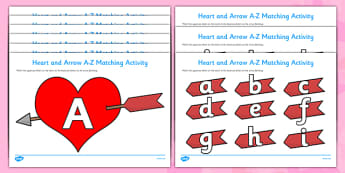 Valentine's Day Hearts and Arrows Matching Activity (Uppercase and Lowercase) - Valentine's Day, Valentine, love, Saint Valentine, heart, kiss, matching activity, uppercase, lowercase, recognition, cupid, gift, roses, card, flowers, date, letter, gir