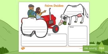 Bileog Oibre: Mapa an Scéil, Feirm Daideo - Bileog Oibre: Mapa an Scéil, Feirm Daideo, grandad's farm story map activity sheet, activity shee