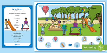 Up and Down Can You Find...? Poster and Prompt Card Pack - concepts, conceptual understanding, opposites, hot air balloons, balloons, balls, kites