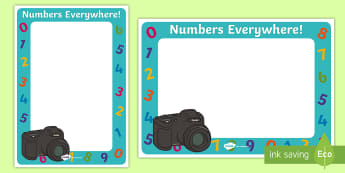 Numbers Everywhere! Numerals in the Environment Photo Frame Cut-Outs  - Mathematics, number, numbers, numerals, environment, number hunt, photo frame.