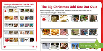 KS1 The Big Christmas Odd One Out Activity Sheet - christmas game, odd one out quiz, decisions, y1, y2, worksheet