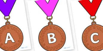 A-Z Alphabet on Bronze Medals - A-Z, A4, display, Alphabet frieze, Display letters, Letter posters, A-Z letters, Alphabet flashcards