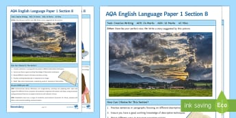AQA English Language Paper 1 Section B Support Guide - AQA, language paper, section B, paper 1 section B, creative writing, GCSE creative writing, revision