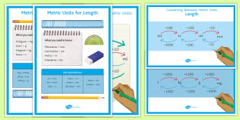 Metric Units Display Pack - Equivalence, conversions, metres, centimetres, kilometres, grams, kilograms, litres, millilitres