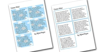 The Cotton Wool Poem Cut Outs - poem, poetry, poets, cut outs