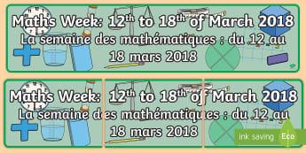 Maths Week Display Banner English/French - display banner, sign, maths week, 2018, EAL