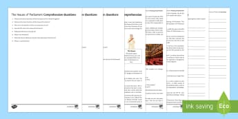 The Houses of Parliament Differentiated Reading Comprehension Activity - Secondary - Event - General Election 08/06/2017 , Houses of Parliament, UK Parliament, UK Government