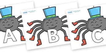 A-Z Alphabet on Spiders - A-Z, A4, display, Alphabet frieze, Display letters, Letter posters, A-Z letters, Alphabet flashcards