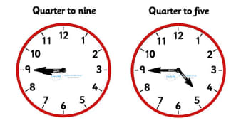 Analogue Clocks - Quarter To - Time resource, Time vocabulary, clock face, O'clock, half past, quarter past, quarter to, shapes spaces measures, year 2, grade 2