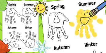 Calendar Handprint Template - calendar, handprint, template