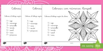 Rangoli Colorear con números - Diwali, Hindú, hinduismo, rangoli, mandala, colorear, colorea, colorear con números, arte, contar,
