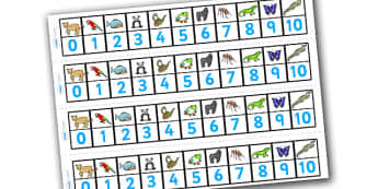 Numbers 1-10 Numbertrack (Jungle & Rainforest) - Maths, Math, number track, Jungle, Rainforest, numbertrack, Counting, Numberline, Number line, Counting on, Counting back, snake, forest, ecosystem, rain, humid, parrot, monkey, gorilla