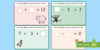Gaps in Number Sentences Addition and Subtraction Playdough Mats - Gaps in Number Sentences Addition and Subtraction Challenge Cards, challange, +, sentance, substract
