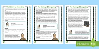 KS2 History of Computing Differentiated Reading Comprehension Activity - Microsoft, computer, Algorithm, Apple, Turing