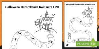 Halloween Spookhuis Ontbrekende Nommers tot 20 Aktiwiteit bladsy  - Oktober, wiskunde, gesyferdheid, getalle, spokerig, heks