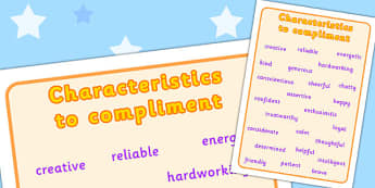 Characteristics to Compliment Word Mat - characteristics, compliment
