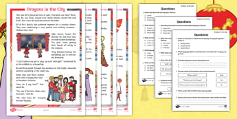 Dragons in the City Differentiated Reading Comprehension Activity - Twinkl Originals, fiction, Chinese New Year, Mandarin, culture, China, KS1, Guided Reading, inferenc