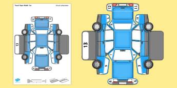 Transport Paper Model Car Arabic/English  - model, paper, car, transport, craft, EAL Arabic