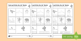 Find and Write the ph Words Differentiated Activity Sheets  - Phonics activity, phase 5, letters and sounds, ph sound, find the sound, sort the pictures, write th
