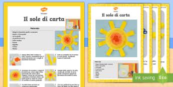 Crea un sole di carta Attività - crea, creare, sole, carta, cartoncino, colla, forbici, italiano, italian, materiale, scolastico
