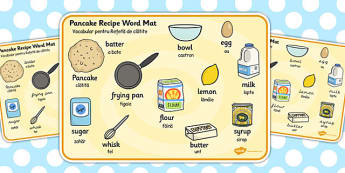 Pancake Recipe Word Mat EAL Romanian Translation - romanian
