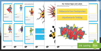 Our School Family Superhero Signs and Labels