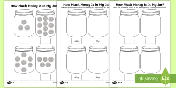 KS1 How Much Money Is in My Jar? Counting in 10s Activity Sheets - Y1 Money, Y2 Money, Y2 Number Sequence, Number Sequence, Measurement, Worksheets, How Much Money, Mo