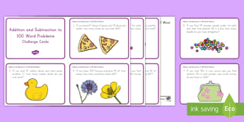 Subtraction and Addition Challenge Cards - Common Core Math, addition, subtraction, problem solving, word problems, operations and algebraic th