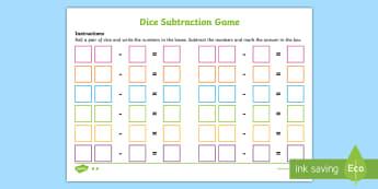 Dice Subtraction Game Sheet - activities, activity, subtract